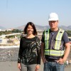 Stacey from SOPA Square and Kim look on as the roof of the 'Granville Island' style market is poured.