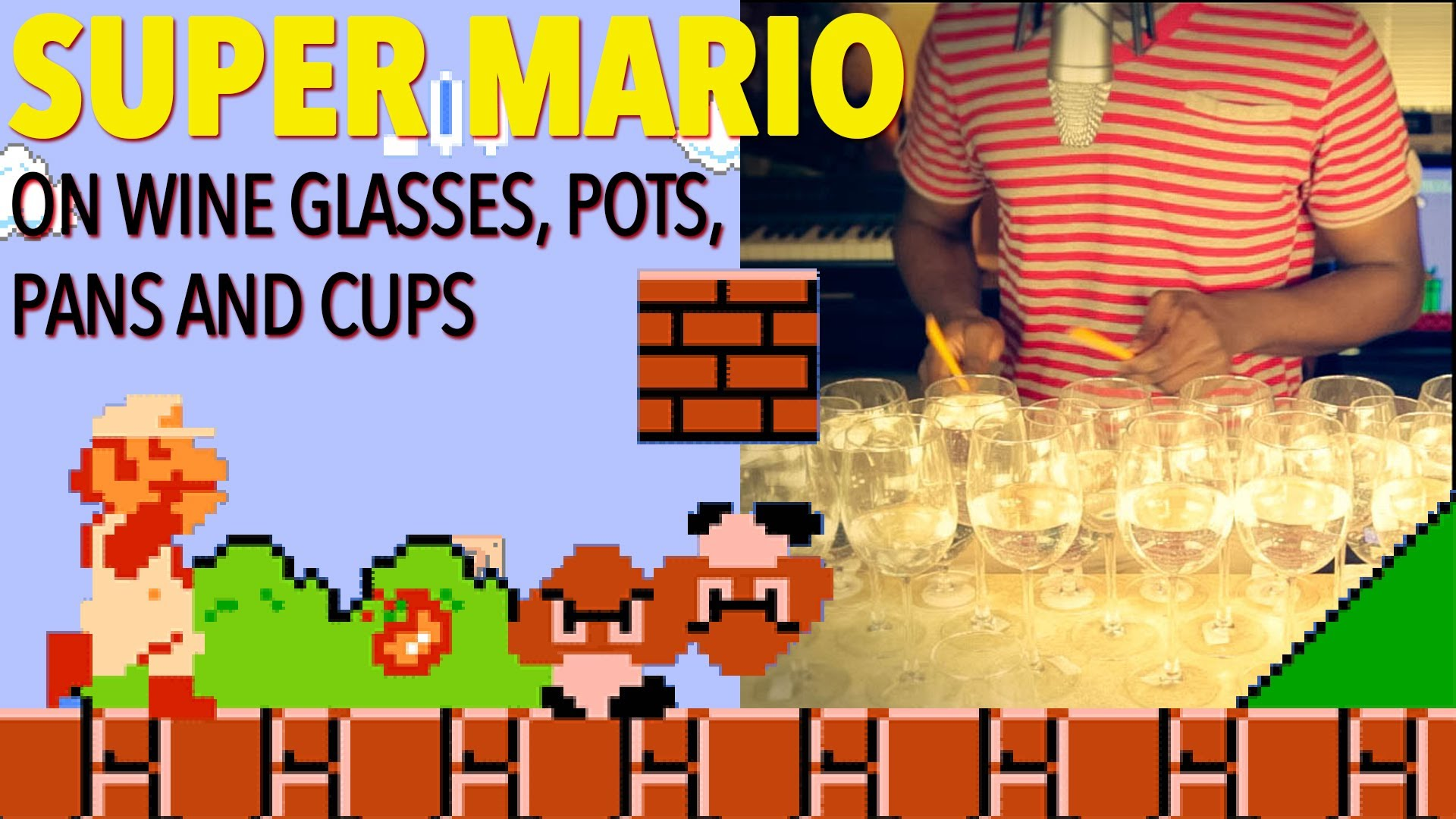 Super Mario Bros Theme Song on Wine Glasses and a Frying Pan