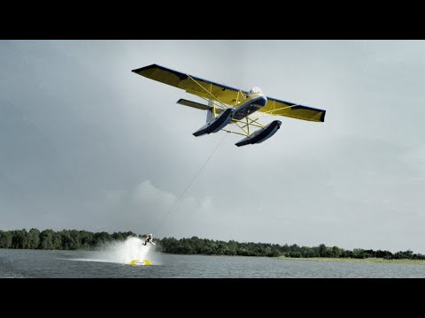 Barefoot Skiing behind Airplane