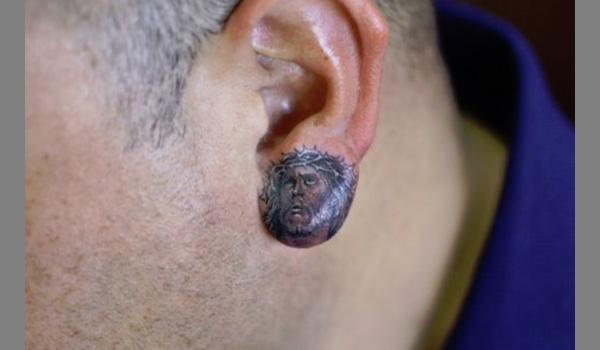 Face it, you failed! - The Tango Jesus Fish Tattoo Behind Ear