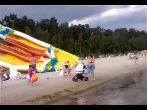 Bouncy Slide Takes Over Beach