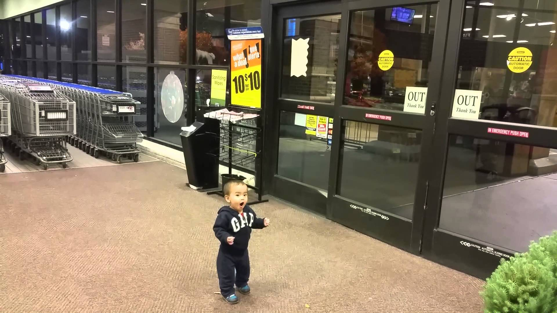 First time reaction to automatic doors