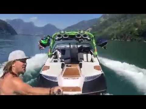 Solo wake surfing dude