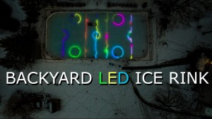 Backyard hockey rink with LED's in the ice