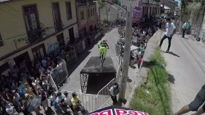 Cyclist narrates his ride through a narrow Red Bull race course