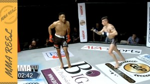 MMA Fighter knocked out while SHOWBOATING