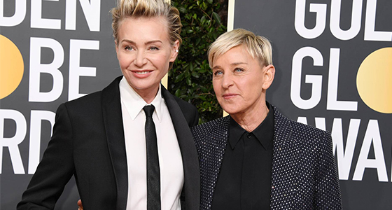 Portia de Rossi standing by Ellen during TV show drama fall-out